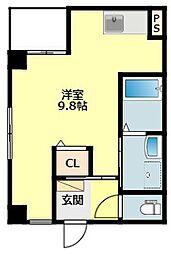 JR東海道本線 岡崎駅 徒歩5分の賃貸マンション 2階ワンルームの間取り
