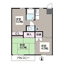 東京都江戸川区南葛西7丁目の賃貸アパートの間取り