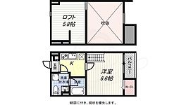 神戸市海岸線 苅藻駅 徒歩3分の賃貸アパート 1階1Kの間取り
