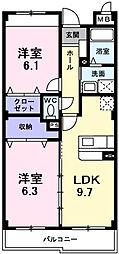 インヴィテ・ボヌール2番館 1階2LDKの間取り