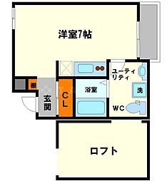 Shine Shimoshinjo 2階ワンルームの間取り