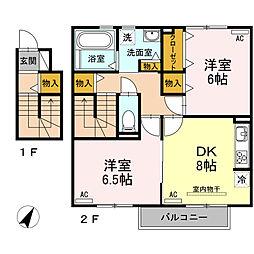 愛知県安城市安城町亀山下の賃貸アパートの間取り