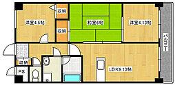 兵庫県神戸市垂水区塩屋町の賃貸マンションの間取り