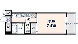 近鉄大阪線 長瀬駅 徒歩1分の賃貸マンション 9階1Kの間取り