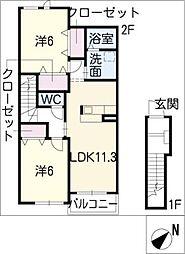 愛知県東海市加木屋町石塚の賃貸アパートの間取り