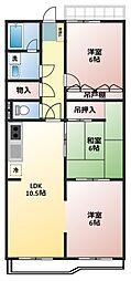 グリーンハイツ鶴ヶ島[2階]の間取り