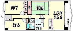 兵庫県神戸市北区大原1丁目の賃貸マンションの間取り