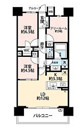 エスグランツ大阪同心[702号室]の間取り