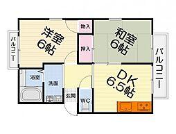 大阪府堺市西区浜寺元町6丁の賃貸アパートの間取り