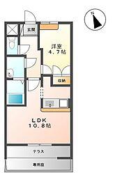 Pronity Mihara (プロニティ美原) 1階1LDKの間取り