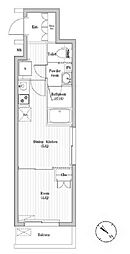 JR山手線 巣鴨駅 徒歩12分の賃貸マンション 2階1DKの間取り