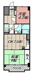 陣山スカイマンション 102号[102号室]の間取り