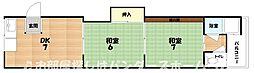大阪府枚方市樋之上町の賃貸マンションの間取り