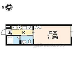 近鉄京都線 京都駅 徒歩9分の賃貸マンション 2階1Kの間取り