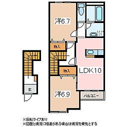 長野県松本市市場の賃貸アパートの間取り