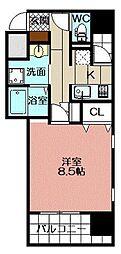 アースコートY`sシティ片野新町 5階1Kの間取り