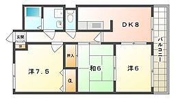 ベルヴィルA[3階]の間取り