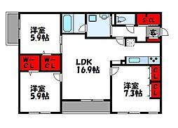 福岡市地下鉄空港線 福岡空港駅 徒歩12分の賃貸マンション 3階3LDKの間取り