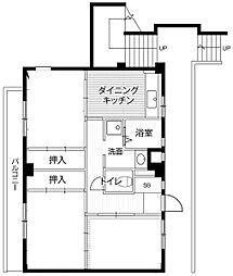 神奈川県相模原市中央区下九沢の賃貸マンションの間取り