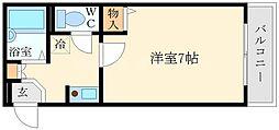 キューブ豊里[4階]の間取り