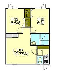 北海道小樽市桜2丁目の賃貸アパートの間取り