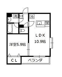 エーデル2[2階]の間取り