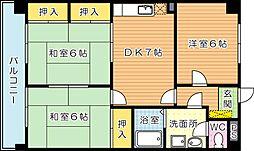 ファミール萩原[4階]の間取り