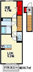 ロザII B棟[205号室]の間取り