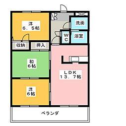 ファミーユ音羽[3階]の間取り