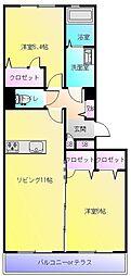 大阪府八尾市東山本町3丁目の賃貸マンションの間取り