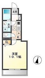 木更津市長須賀593番1新築アパート[110号室]の間取り