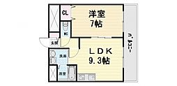 JR阪和線 富木駅 徒歩8分の賃貸マンション 2階1LDKの間取り