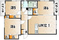 プレステージ西工大前Ⅱ[2階]の間取り