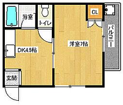 阪急京都本線 長岡天神駅 徒歩16分の賃貸マンション 1階1DKの間取り