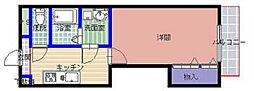 ブレインマンションKOMONO 3階1Kの間取り