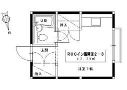 ROCイン鶴岡III 2階ワンルームの間取り