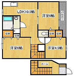 兵庫県高砂市時光寺町の賃貸アパートの間取り