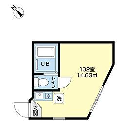 ユナイト七島パンナロード 1階ワンルームの間取り