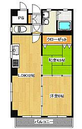 陽東3丁目 2LDK マンション[4階]の間取り