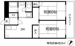 エスコート中崎 9階2DKの間取り