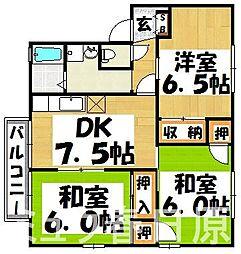 福岡県大野城市若草1丁目の賃貸アパートの間取り