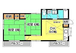 [一戸建] 埼玉県所沢市花園2丁目 の賃貸【埼玉県 / 所沢市】の間取り