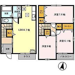 [テラスハウス] 青森県八戸市田向5丁目 の賃貸【/】の間取り