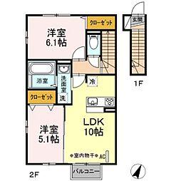 福島県田村市船引町東部台4丁目の賃貸アパートの間取り