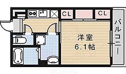 阪急京都本線 茨木市駅 徒歩8分の賃貸マンション 2階1Kの間取り
