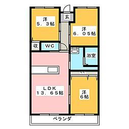 プライムライフ[3階]の間取り