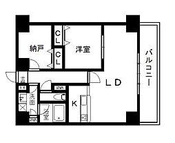 西辻マンション 9階1SLDKの間取り