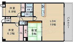 カーサローザ 1階3LDKの間取り