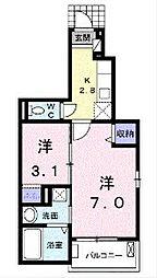 埼玉県鶴ヶ島市羽折町の賃貸アパートの間取り
