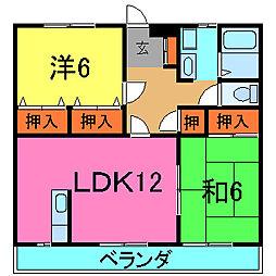 兵庫県加古川市野口町長砂の賃貸アパートの間取り